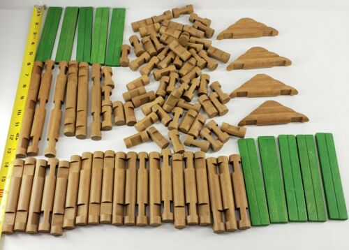 Vintage Lincoln Logs Toy Lot of 100 Pieces Build Building Logs Replacement