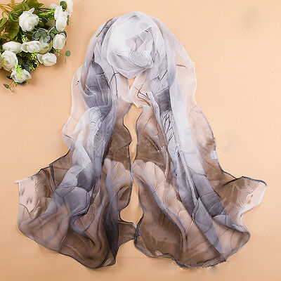 New Women Lady Georgette Chiffon Long Wrap Shawl Lotus Flowers Scarf China Style