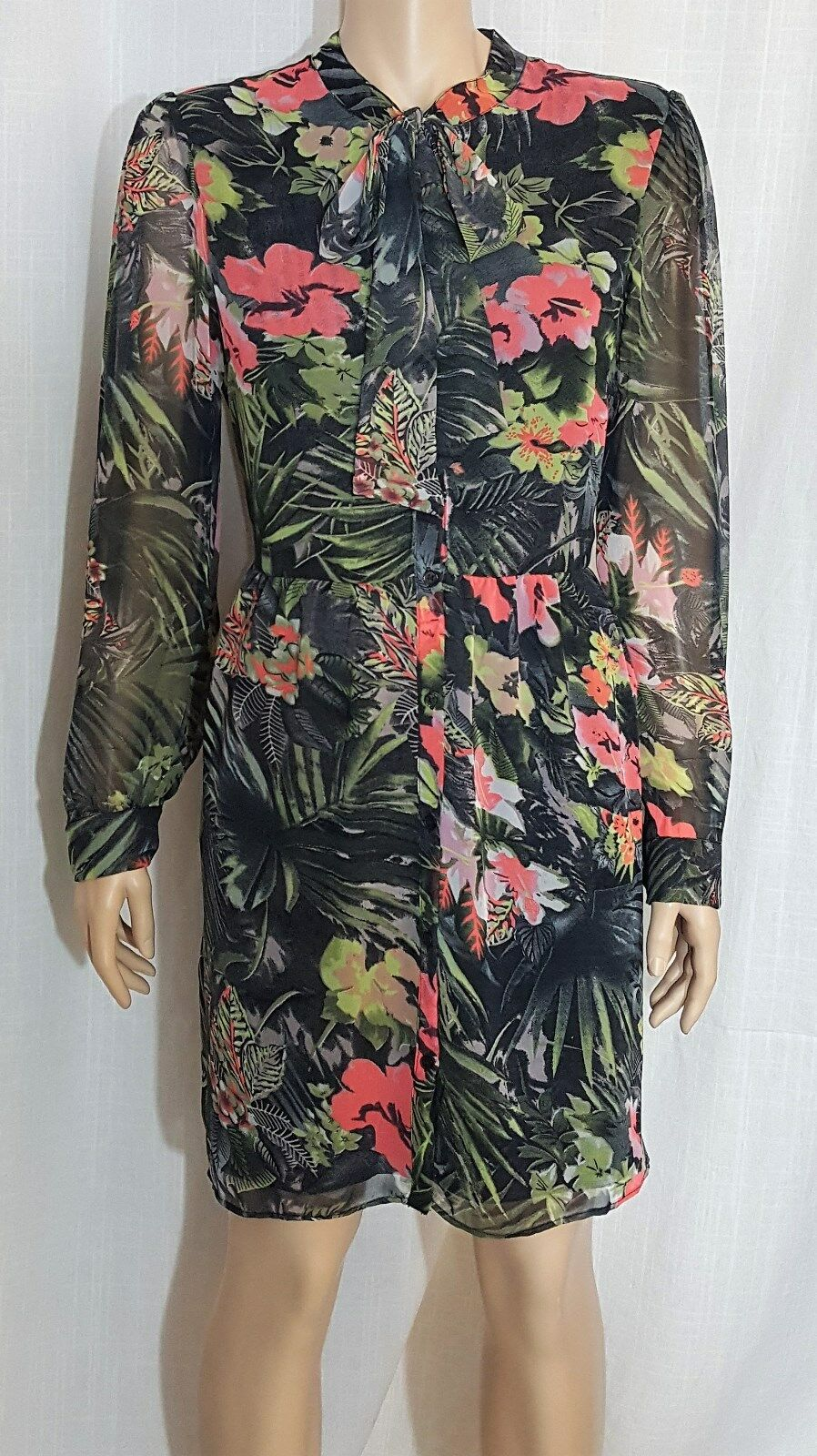 W118 by Walter Baker Floral Print Tie Neck  Brooklyn  Dress Sz. 10 NWT