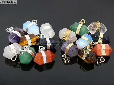 Natural Gemstones Hexagonal Prism Pointed Reiki Chakra Pendant Beads Silver Gold