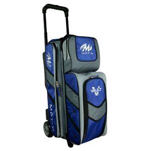 Motiv Vault 3 Ball Deluxe Roller Bowling Bag 5 Inch Urethane Wheels Blue NEWEST