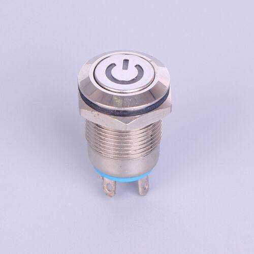 12mm 12V Riegelknopf LED-Stromversorgungs-Momentschalter aus Metall,wasserYEDE