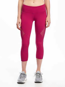 44c8185198 Old Navy Women Go-Dry Mid Rise Compression Mesh-Panel Crops Pink ...