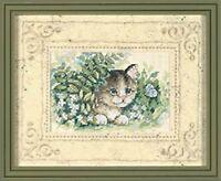 Cross Stitch Kit - Kitten Butterfly Flowers + Mat 06957
