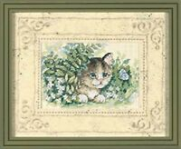 Matted Accents Kitten And Butterfly Counted Cross Stitch Kit 10X8 Mat 6X4 Opening Craft Supplies