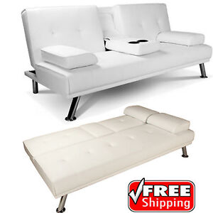 White Faux Leather Sofa Bed Double Click Clack Settee 2 3