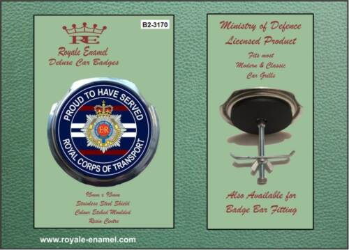 Royale Classic Car Grill Badge Fittings + ROYAL CORPS OF TRANSPORT PROUD B2.3170