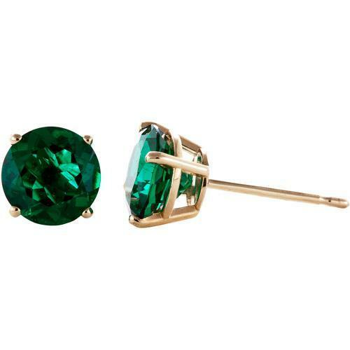 14K SOLID YELLOW gold GREEN EMERALD ROUND SHAPE STUD Butterfly EARRINGS All Size