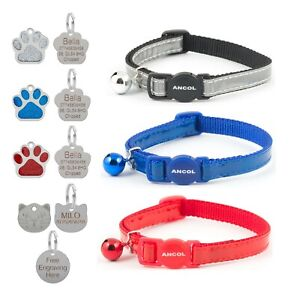 Cat-Collar-Reflective-Gloss-Safety-Release-Red-Blue-Silver-Optional-Engraved-Tag