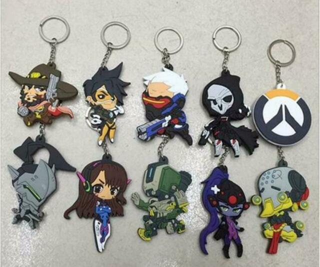 Alec Overwatch Cartoon Transparent Key Chain Ring Bag Backpack Accessory Pendant