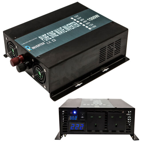 Pure Sine Wave Inverter 1500Watt Solar Power Inverter 12//24V DC to 220 240V AC