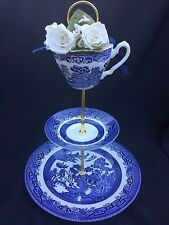 Classic Blue Willow Wedding Cake Stand 3 Tier Bridal English Tea Party