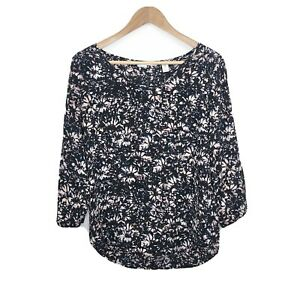 Max Studio Women's Black Floral Long Sleeve 100% Silk Blouse Top Size Small