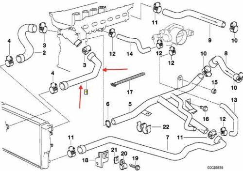 523i BMW E39 520i 528i Top Radiator Hose models built before 09//98 11531740474