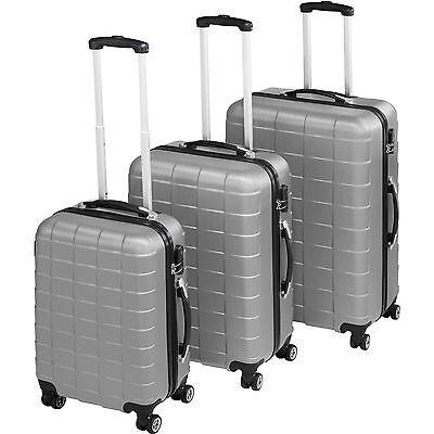 Set 3 piezas maletas ABS juego de maletas de viaje trolley maleta dura plata