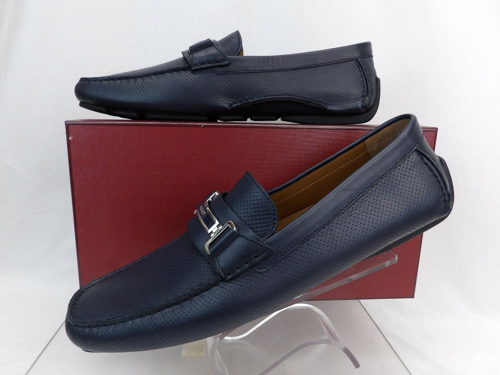 BALLY DRULIO NAVY PERFORATED LEATHER LOGO METAL LOGO LEATHER DRIVING LOAFERS 11 US 44 3ae3aa