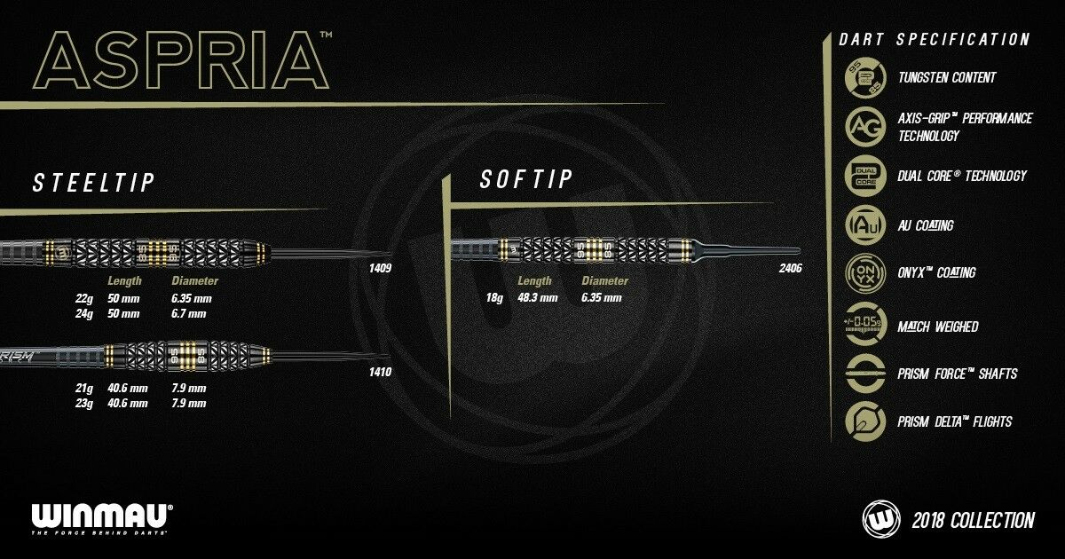 Aspria Dual Core Darts From Winmau Dual Density Different Shapes