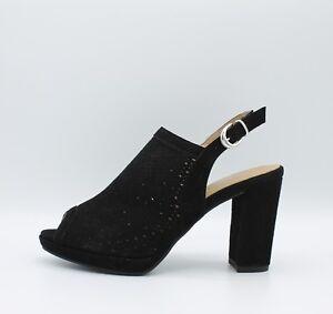 IGI CO. DVE 1168300 sandali donna con tacco e plateau in camoscio forato nero