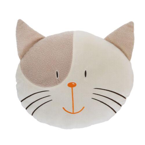 35cm Beige and Brown Cat Head Cushion