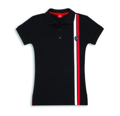 Ducati Ladies Polo Shirt Shield Black New