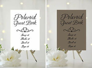 A4/A5 WEDDING SIGN - POLAROID GUEST BOOK - CHOICE OF BACKGROUND CARD ...