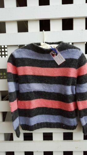 Hand-knit sweater-Vintage 60's Mohair, Striped, Pu