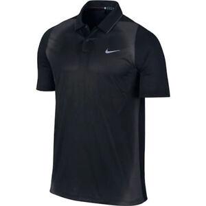 NIKE GOLF Tiger Woods VL Max Mesh Framing Black Grey S S Polo Shirt ... 3cbe111081248