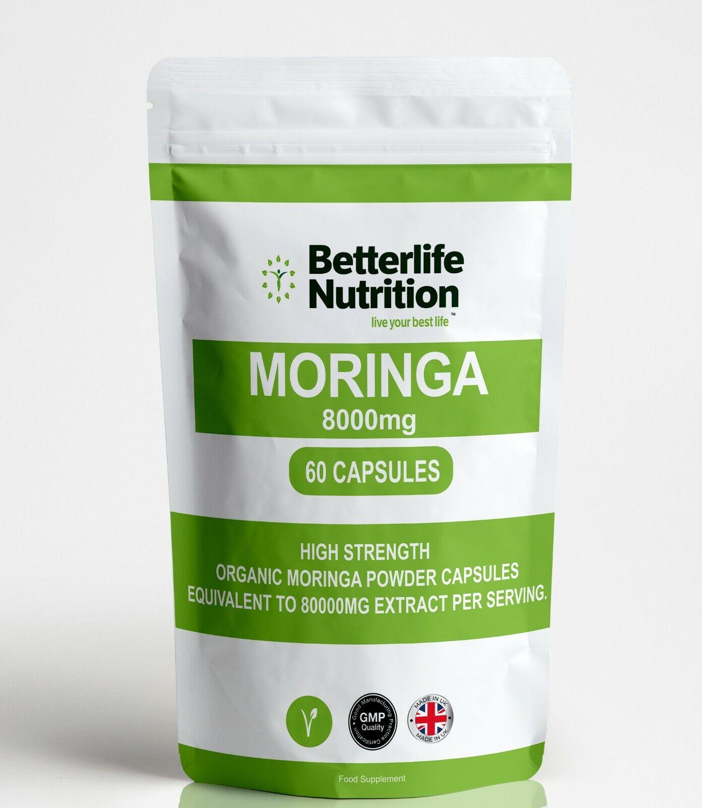 Moringa Organic Capsules 8000mg High Strength Vegan Superfood Extract