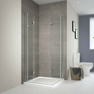 Details zu Duschabtrennung 80x90 90x90 80x80 Eckeinstieg Falttür  Duschkabine Dusche Glas