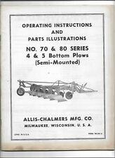 Allis Chalmers 70 80 Semi Mounted Plows Operators Manual Amp Parts Illustrations