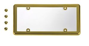Universal-UNBREAKABLE-Clear-License-Plate-Shield-GOLD-Frame-4-Gold-Caps