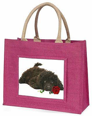 Zwergpudel Hund mit roter Rose Große Rosa Einkaufstasche Weihnachten,AD-POD9RBLP