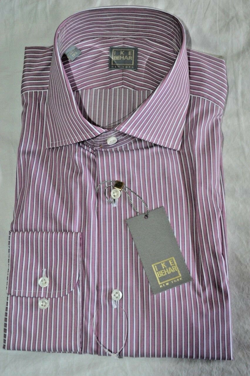 12/8  265 NWT IKE BEHAR Gold Ruby w/Weiß stripes 17 eu43 cotton dress shirt