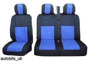 2-1-bleu-flexible-amp-CONFORT-TISSU-Housses-de-siege-pour-Peugeot-Partner