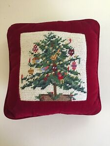 Christmas-Tree-on-Red-Velvet-Needlepoint-Throw-Pillow-Christmas-10-x-10-Handmade