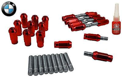 20 Pc BMW Red 12x1.5 Racing Thread Stud Conversion Fits All BMW W/ 12x1.5 Studs