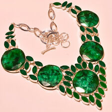 Sakota Mines Emerald & Zambian Emerald Amazing Silver Jewelry Necklace 18''
