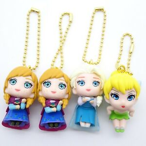 Disney-Heroina-Gacha-Broche-Figura-Llavero-Princesa-Anna-Reina-Elsa-amp-tinker-Bell