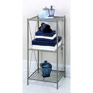 Bathroom Storage Rack Shelf Towel Shower Organizer Cabinet 3 Shelves Floor Stand