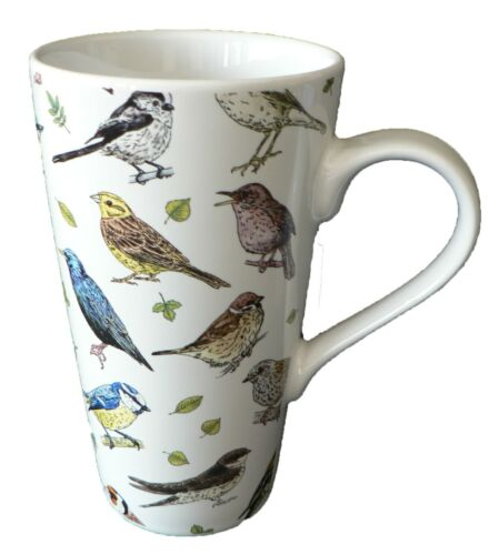 Garden Birds ceramic large latte mug 3//4pt capacity Different birds