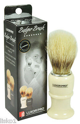 "Luxor Pro Quality Badger Hair Shave mug brush plastic handle 4""long  (white)"