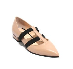 Gibellieri-901-Beige-Black-Leather-Elastic-Pointy-Classic-Shoes-39-5-US-9-5