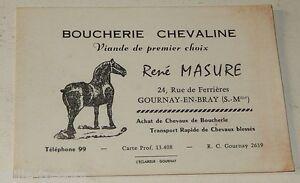 Ancienne CARTE De VISITE BOUCHERIE CHEVALINE Rene MASURE