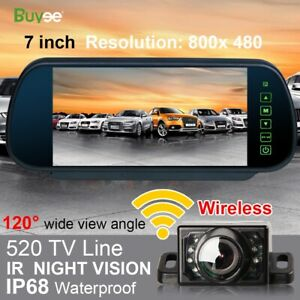 Wireless-Car-Rear-View-Kit-7-034-Mirror-Monitor-IR-Night-Vision-Reversing-Camera