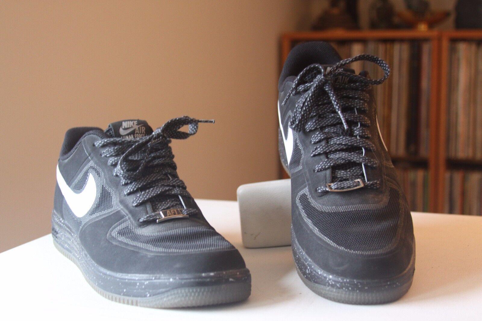 Nike Basketball 555027-010 Lunar Force 1 Fuse Black Leather Basketball Nike Shoes Men's Size 10 abe900