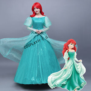 58a68f424a Image is loading Princess-Ariel-Adult-Costume-The-Little-Mermaid-Green-
