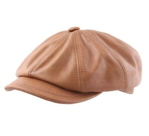 fc00c798c24fc Béret - casquette plate cuir homme ou femme Montreal 2 - cognac | eBay