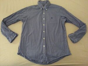 Mens-Polo-Ralph-Lauren-Plaid-Dress-Shirt-L-Large-Custom-Navy-Blue-Button-Cotton