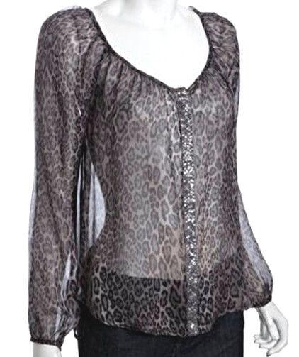 Wyatt 100% Silk Grey Animal Print Sequin Button Tunic Blouse Sz S Retail