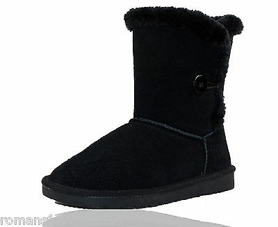 Womens Ladies Real Sheepskin Leather Bailey Button Short Calf Boots Shoes Size 5